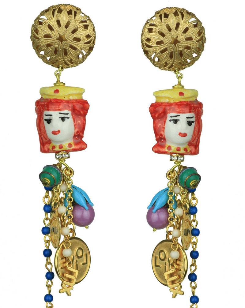 CERAMIC RED ORNAMENTS EARRINGS - JUSTBRAZIL