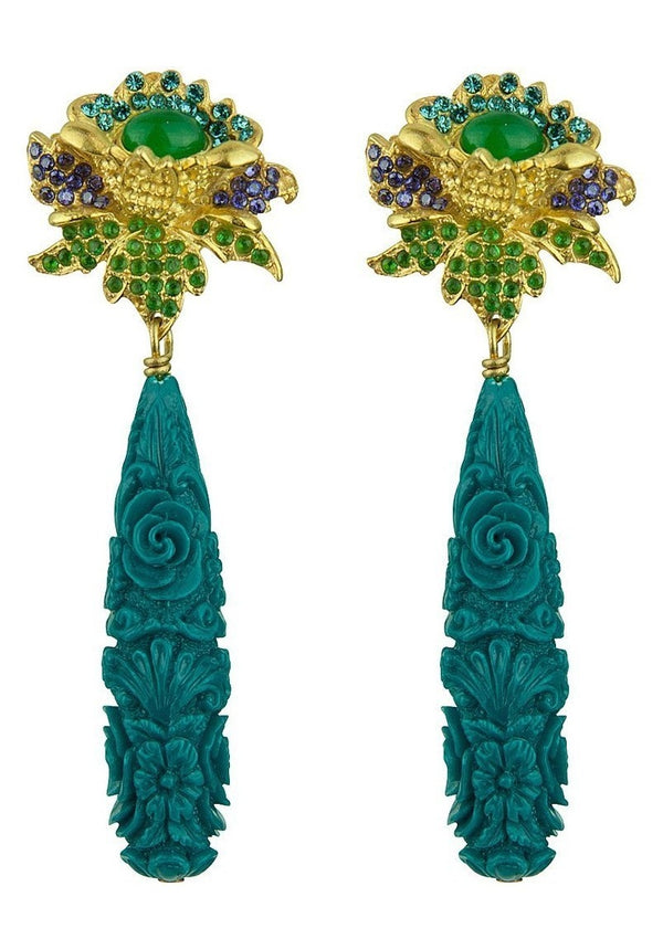 ROSA CLIP PETROL EARRINGS - JUSTBRAZIL