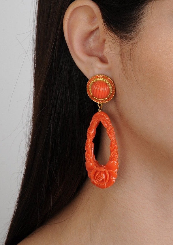 ROSA ORANGE RESIN DROP EARRINGS - JUSTBRAZIL