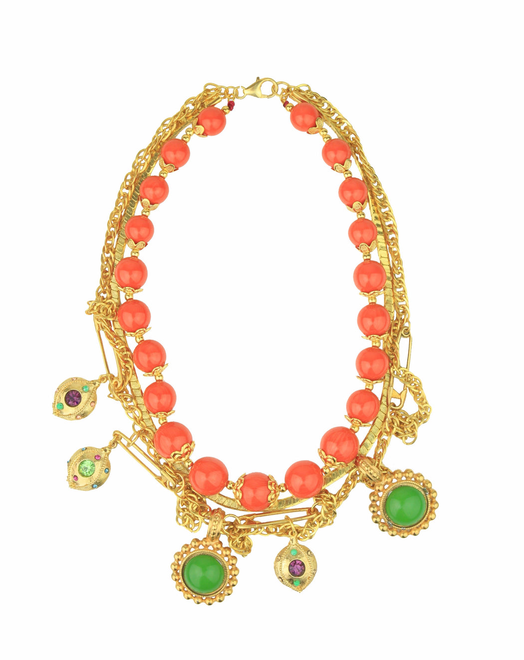 CANDY VINTAGE CHAIN GOLD ORANGE CHARMS NECKLACE - just-brazil