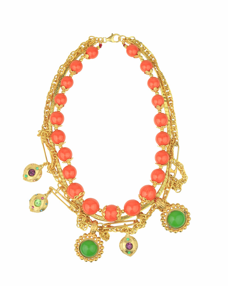 CANDY VINTAGE CHAIN GOLD ORANGE CHARMS NECKLACE - JUSTBRAZIL