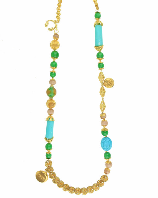 TURQUOISE AND GREEN BEADS VINTAGE GOLD CHAIN NECKLACE