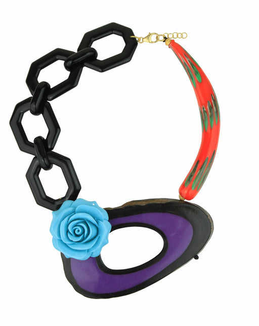 MEMPHIS RED MURANO TURQUOISE FLOWER NECKLACE