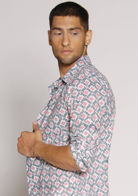 GREY/RED STAR MEN'S SHIRT - JUSTBRAZIL