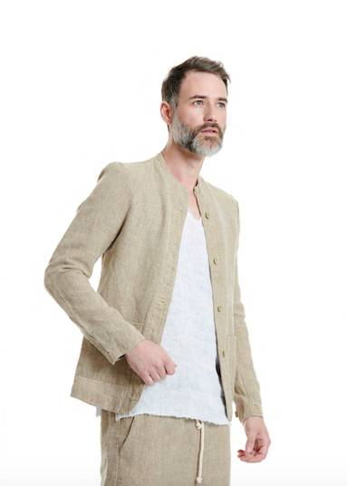 APOLLON MAO POCKETY BEIGE LINEN SHIRT - JUSTBRAZIL