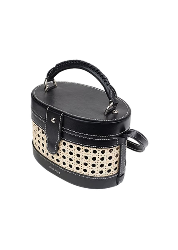 LOLA BLACK BAMBOO LEATHER BAG - JUSTBRAZIL