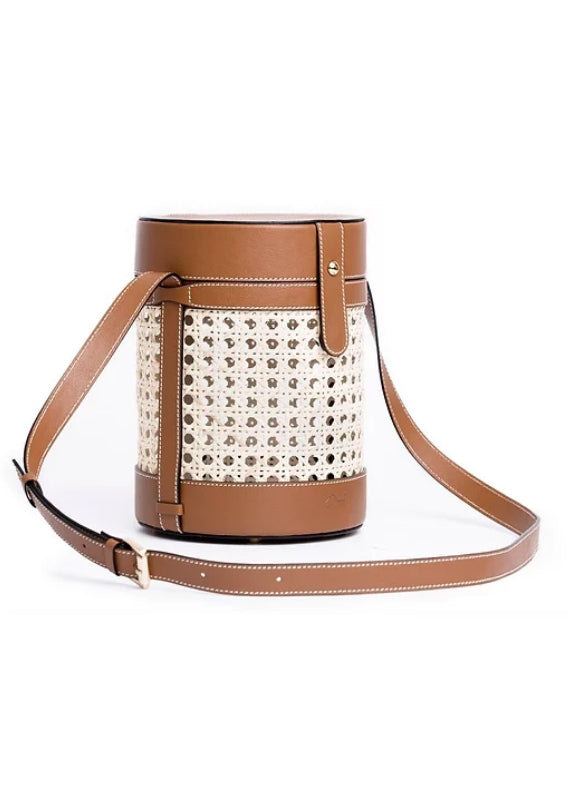 CUBO CAMEL BAMBOO LEATHER BUCKET BAG - JUSTBRAZIL