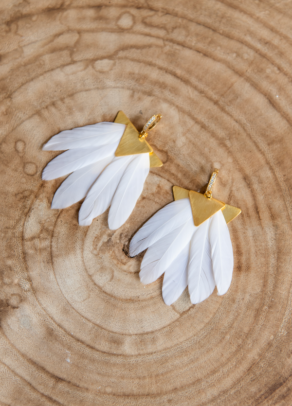 ARTEMIS WHITE FEATHER EARRINGS