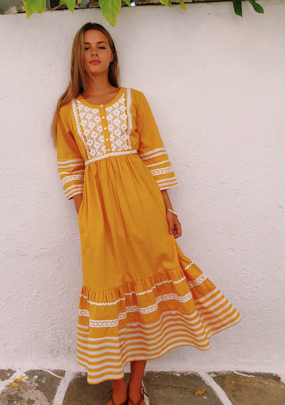 CUSTARD APPLIQUE PLAIN PRAIRE LONG DRESS - JUSTBRAZIL