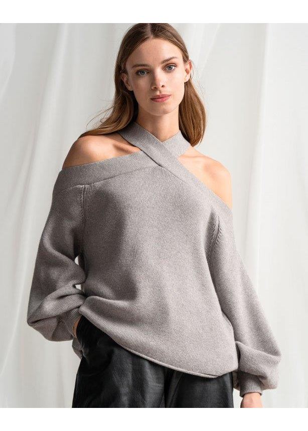 CUFF GREY SWEATER - JUSTBRAZIL
