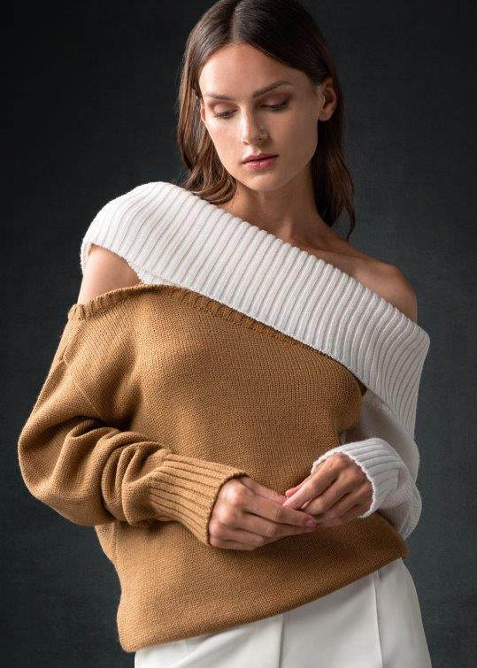 CAMEL WHITE OFF SHOULDER SWEATER - JUSTBRAZIL