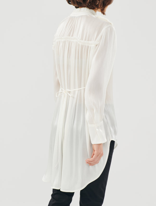 METALLIC WHITE ASSYMETRICAL LONG SHIRT - JUSTBRAZIL