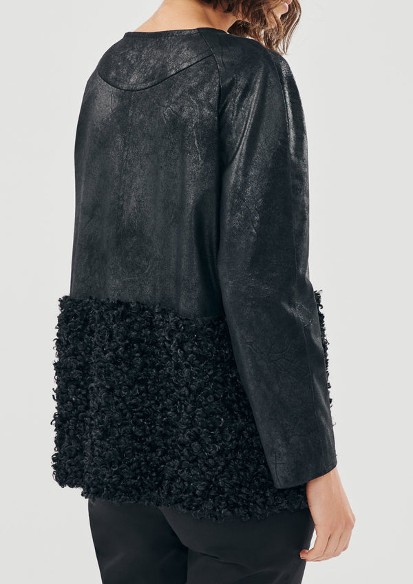 TINA SHORT LEATHER BOUCLE JACKET - JUSTBRAZIL