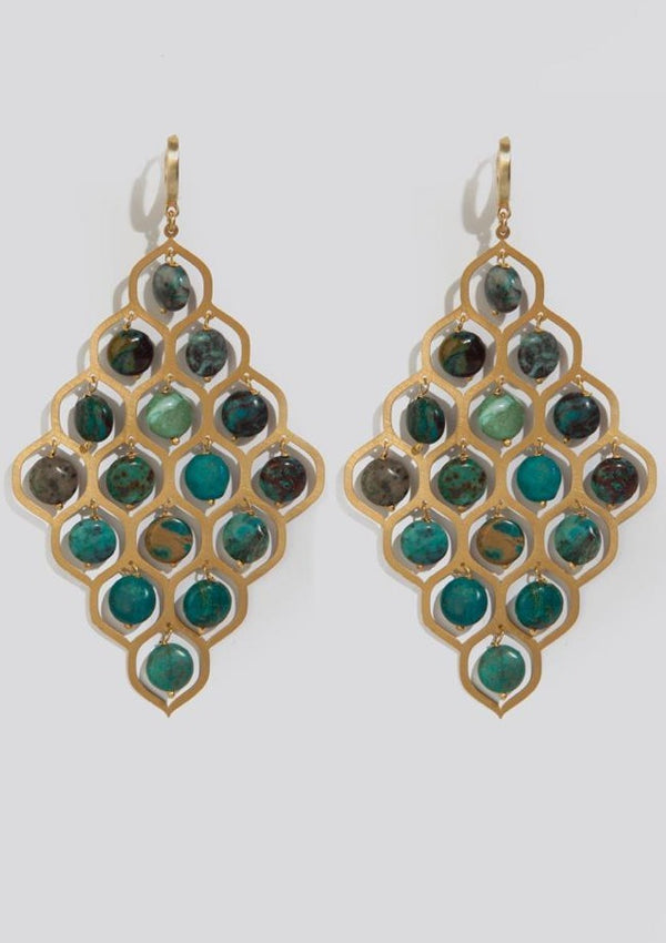 CHRYSOCOLLA POTNIA EARRINGS - JUSTBRAZIL