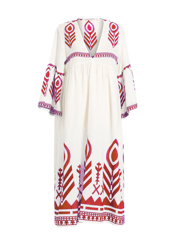 AKTIS WHITE/RED MIDI DRESS - JUSTBRAZIL