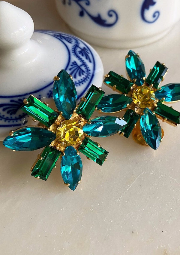 ALICE GREEN CRYSTAL ROSETTE CLIP EARRINGS