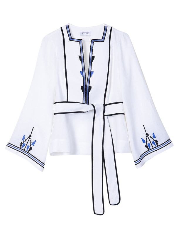AMORGOS WHITE/BLUE EMBROIDERED BLOUSE - JUSTBRAZIL