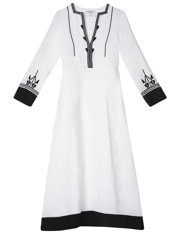 AMORGOS OFF WHITE EMBROIDERED LINEN DRESS - JUSTBRAZIL