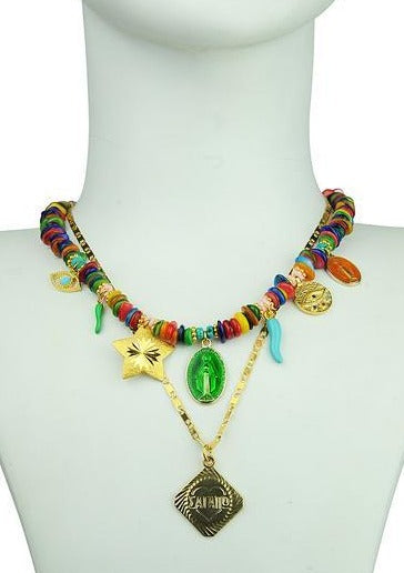 LUCILLA CHARM SHORT DOUBLE NECKLACE - JUSTBRAZIL