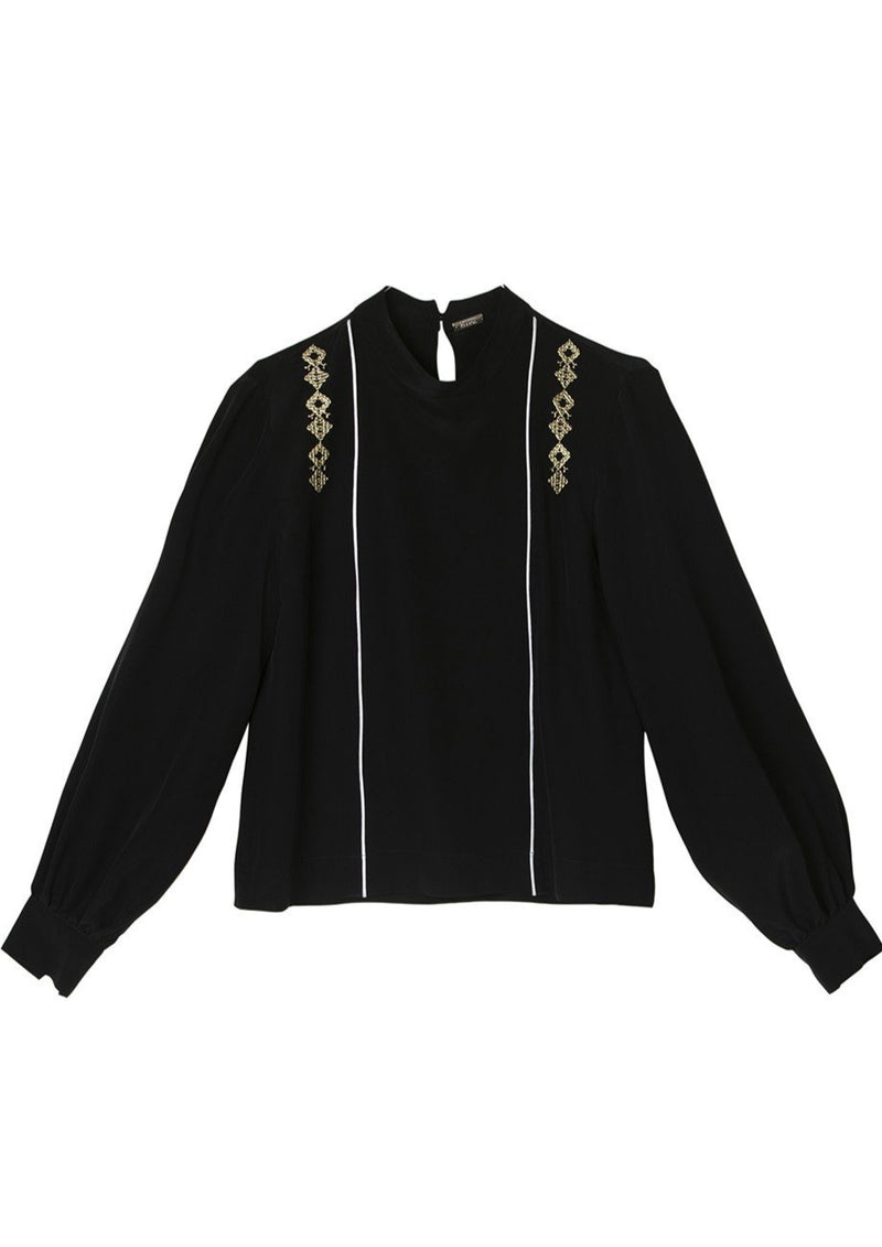 ANTHEMIS BLACK SILK EMBROIDERED BLOUSE - JUSTBRAZIL