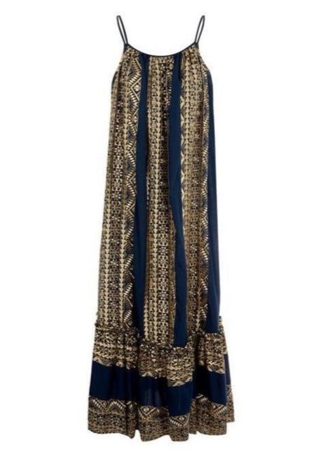 APHRODITE BLUE GOLD LONG DRESS - JUSTBRAZIL