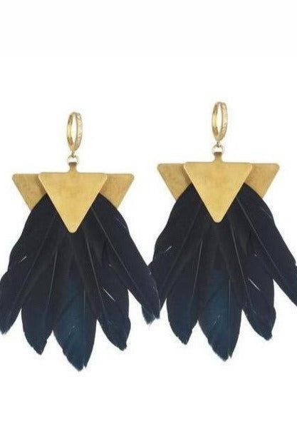 ARTEMIS BLACK FEATHER EARRINGS - JUSTBRAZIL