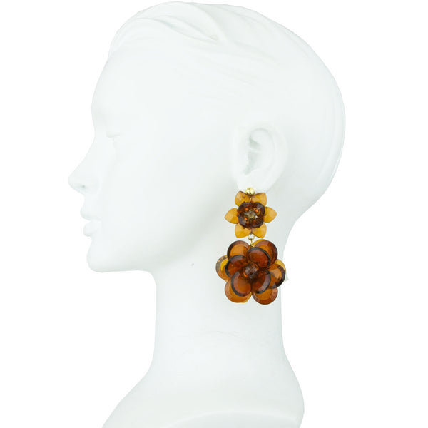 SYLVIA DOUBLE TORTOISE FLOWER EARRINGS - JUSTBRAZIL
