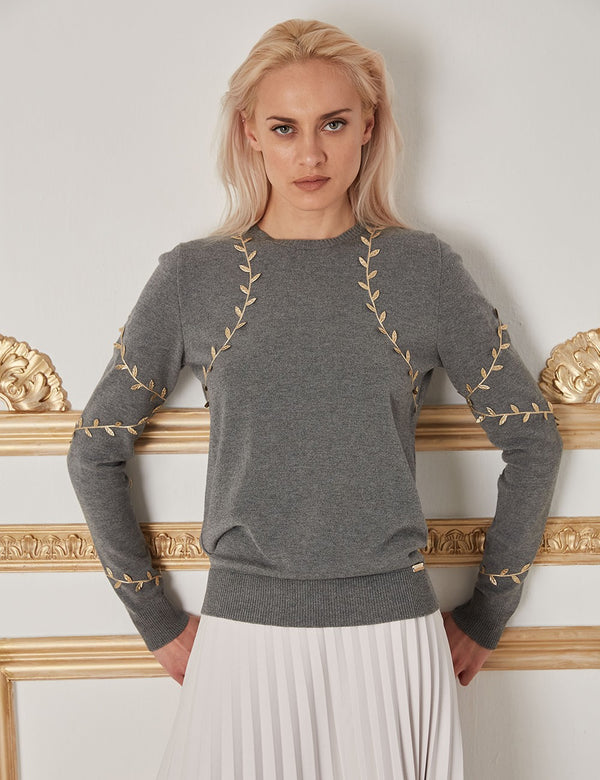 CHRYSALIS GREY-GOLD WOOL SWEATER