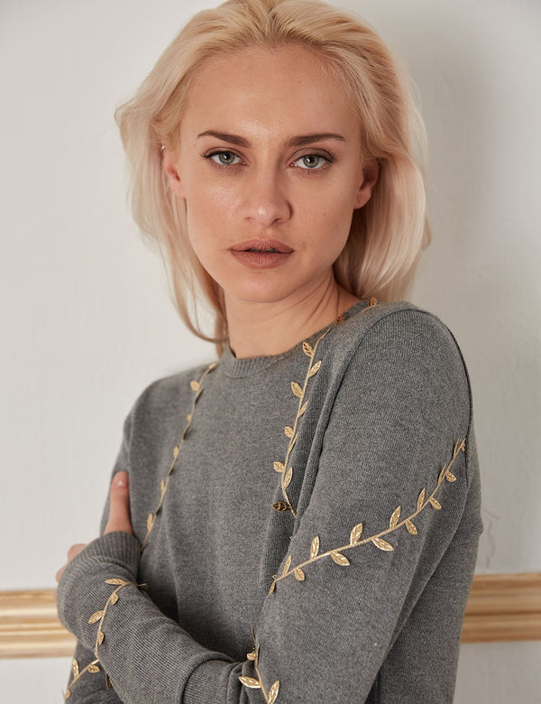 CHRYSALIS GREY-GOLD WOOL SWEATER - JUSTBRAZIL