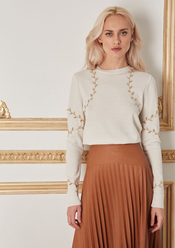 CHRYSALIS WHITE-GOLD WOOL SWEATER - JUSTBRAZIL