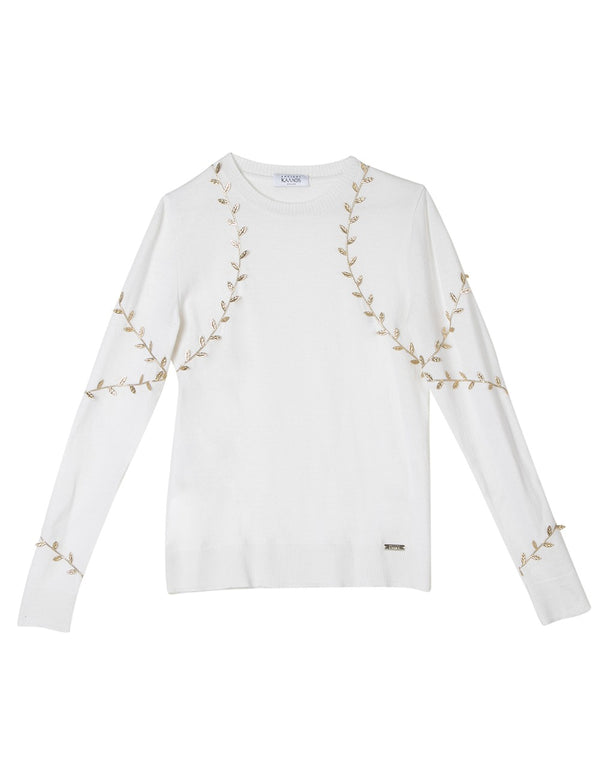 CHRYSALIS WHITE-GOLD WOOL SWEATER