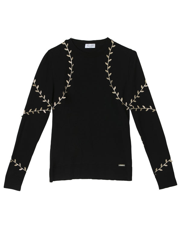 CHRYSALIS  BLACK-GOLD WOOL SWEATER - JUSTBRAZIL