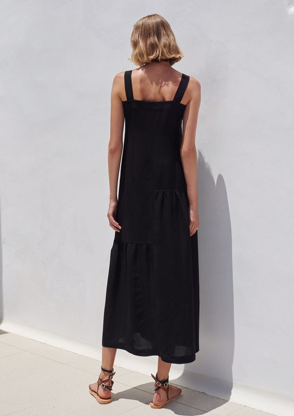 CHRYSI BLACK LINEN LONG DRESS - JUSTBRAZIL