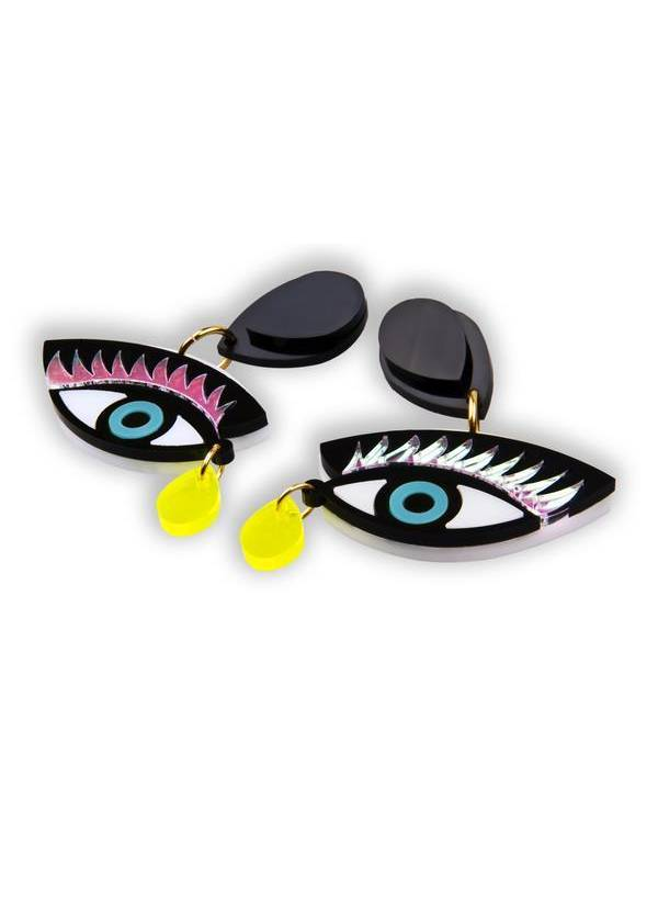 EYE ON YOU CYAN EARRINGS - JUSTBRAZIL