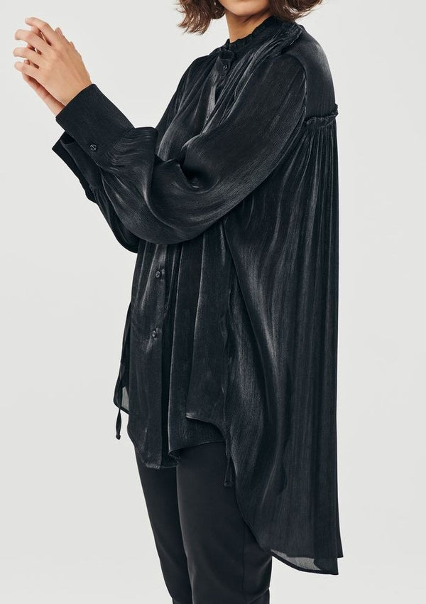 METALLIC BLACK ASSYMETRICAL LONG SHIRT - JUSTBRAZIL