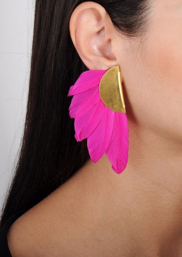 ARTEMIS FUCHSIA  FEATHER EARRINGS - JUSTBRAZIL