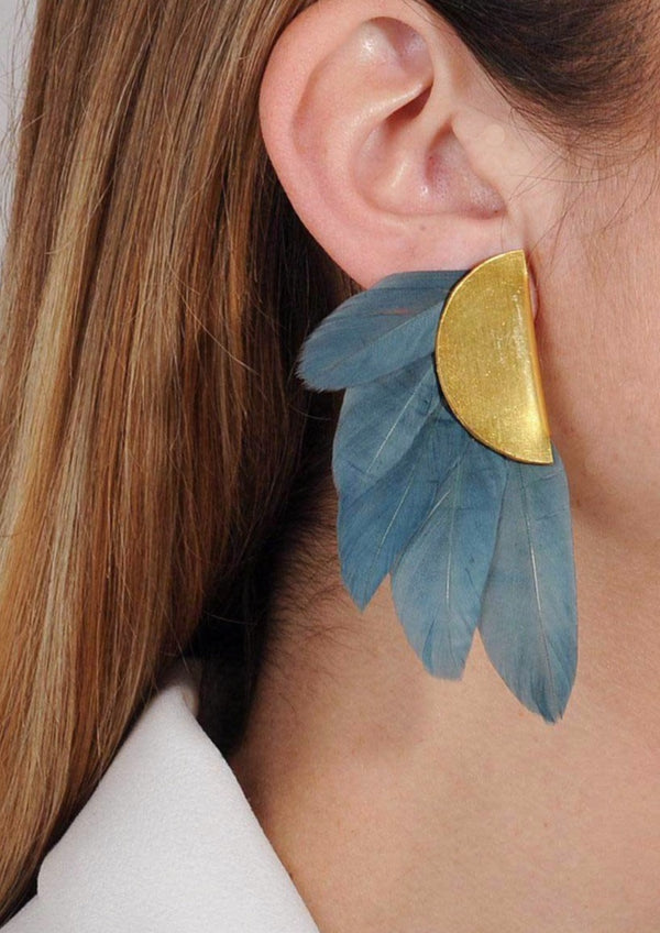 ARTEMIS PETROL FEATHER EARRINGS - JUSTBRAZIL