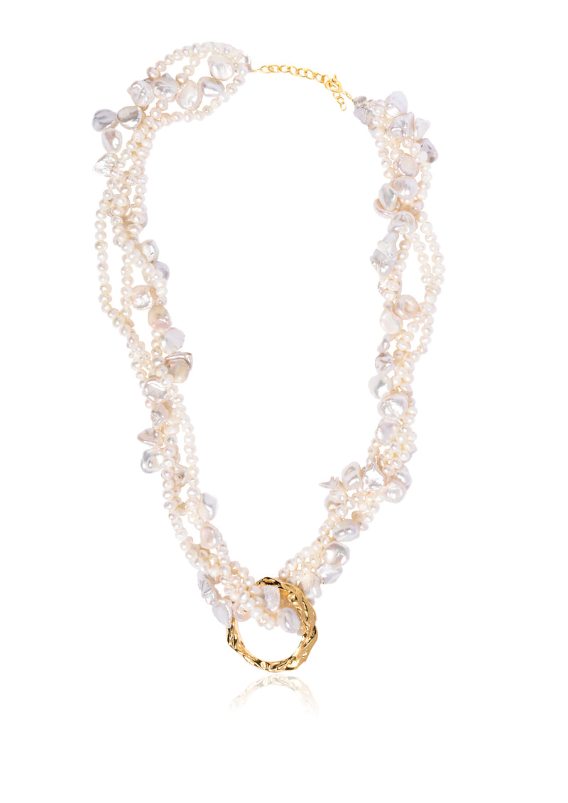 FULL MOON TANGLED PEARL NECKLACE - JUSTBRAZIL