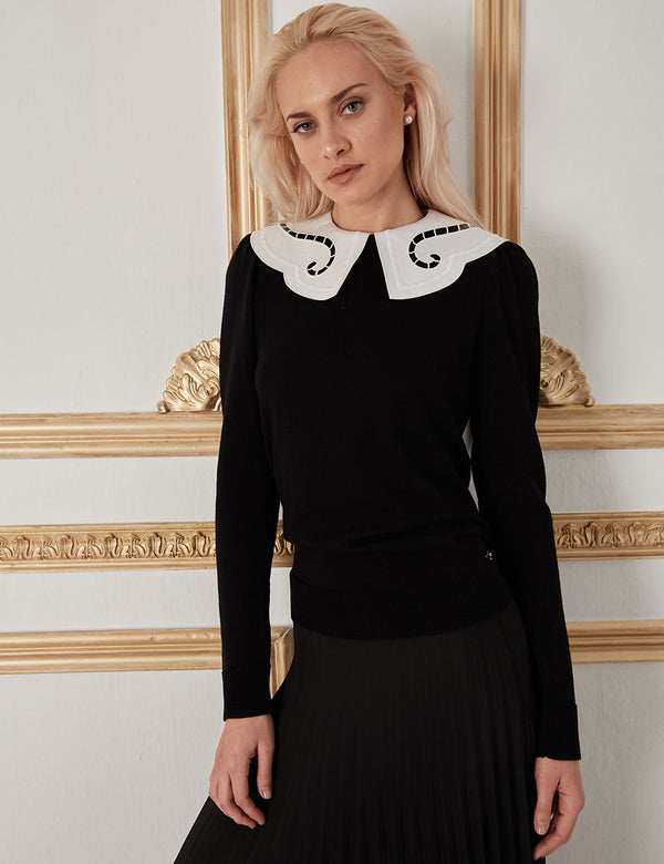 IPHIGENEIA BLACK EMBROIDERED COLLAR SWEATER - JUSTBRAZIL