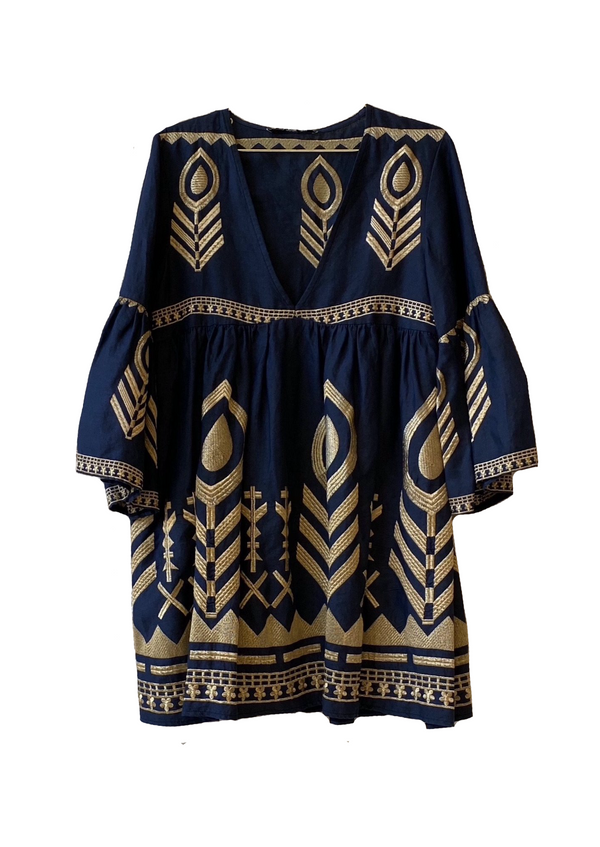 EKAVI BLUE/ GOLD SHORT DRESS - JUSTBRAZIL