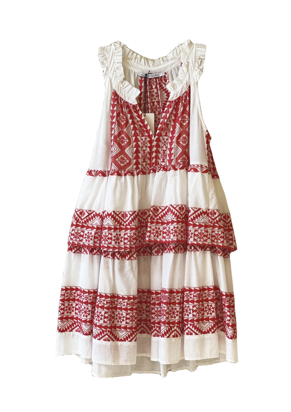 ANDROMAXI WHITE/RED SHORT SLEEVELESS DRESS - JUSTBRAZIL
