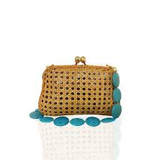 CHARLOTTE WICKER HONEY WITH TURQUOISE BAG - just-brazil