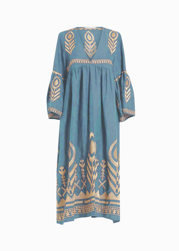 AKTIS LIGHT BLUE MIDI DRESS - JUSTBRAZIL