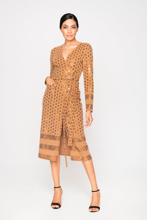 WRAP KNITTED SEQUIN CAMEL DRESS