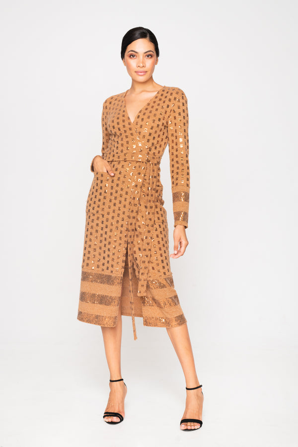 WRAP KNITTED SEQUIN CAMEL DRESS - JUSTBRAZIL