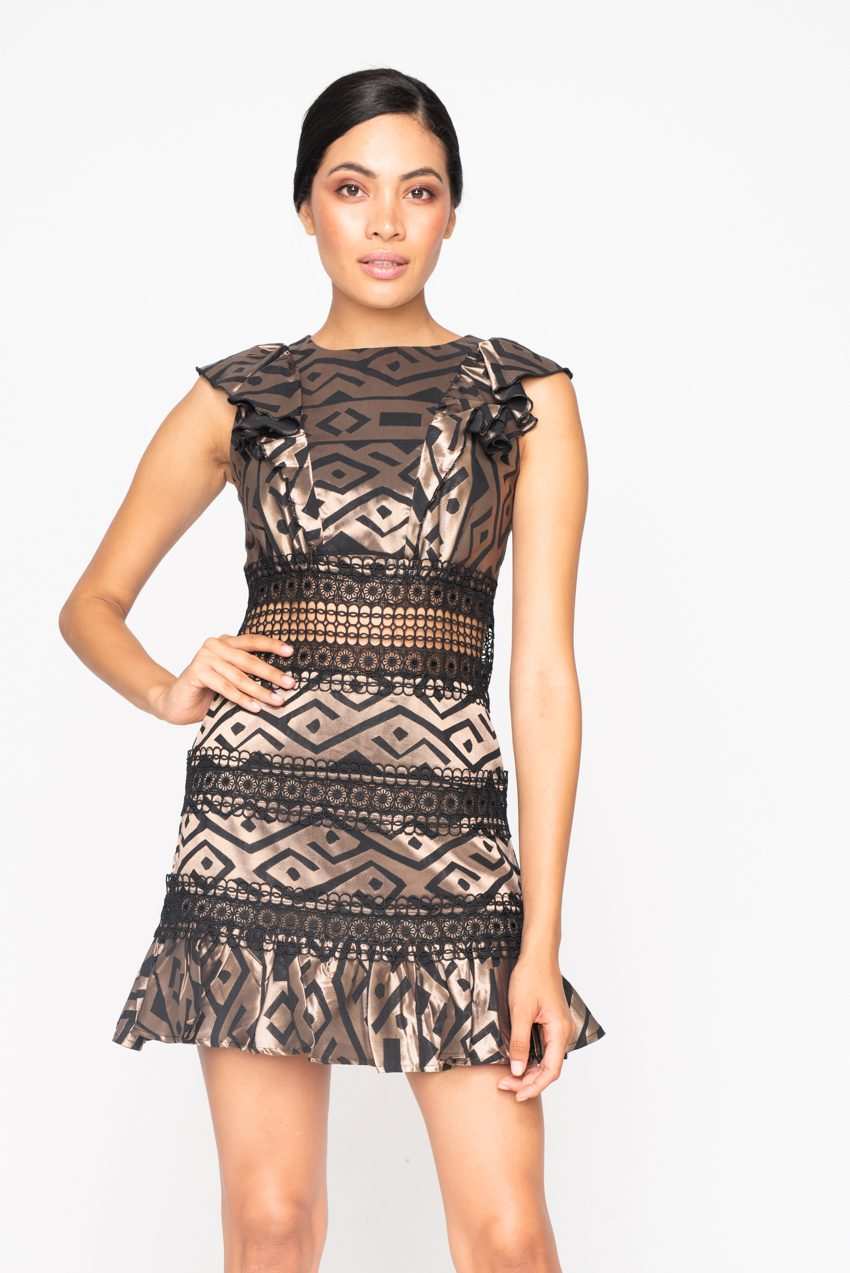 GEO TRIBE LACE SHORT DRESS