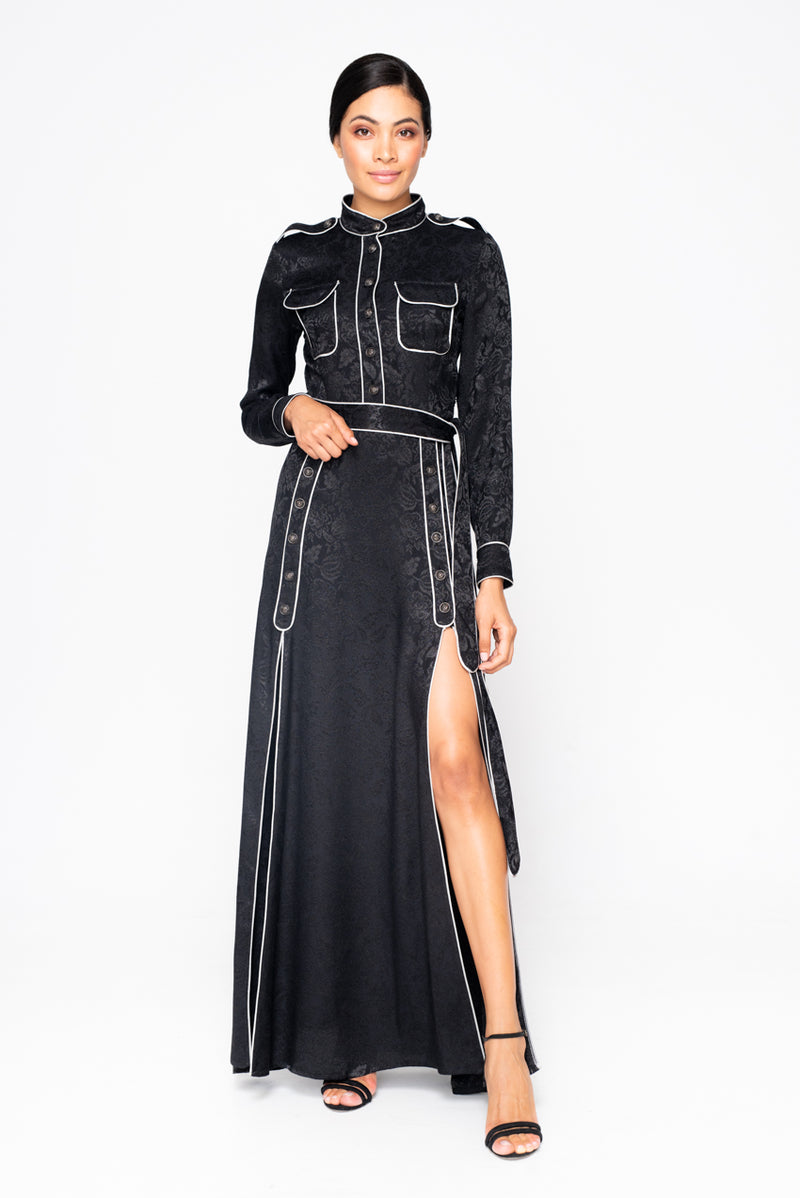 BLACK VINTAGE STAMP LONG DRESS - JUSTBRAZIL