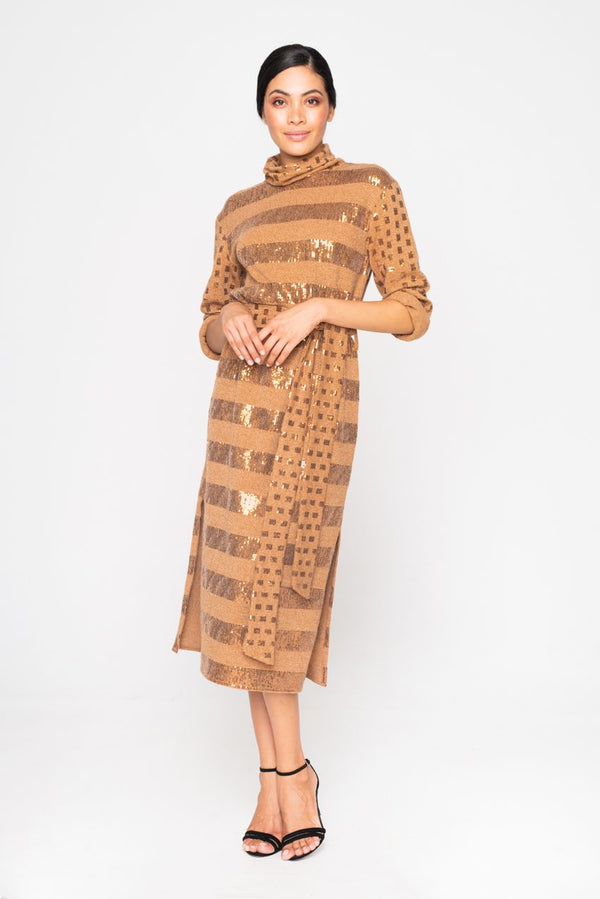 MIDI KNITTED SEQUIN CAMEL DRESS - JUSTBRAZIL