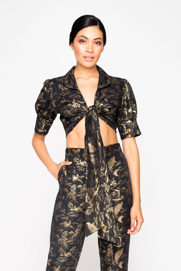 GEISHA WRAP CROP TOP - JUSTBRAZIL