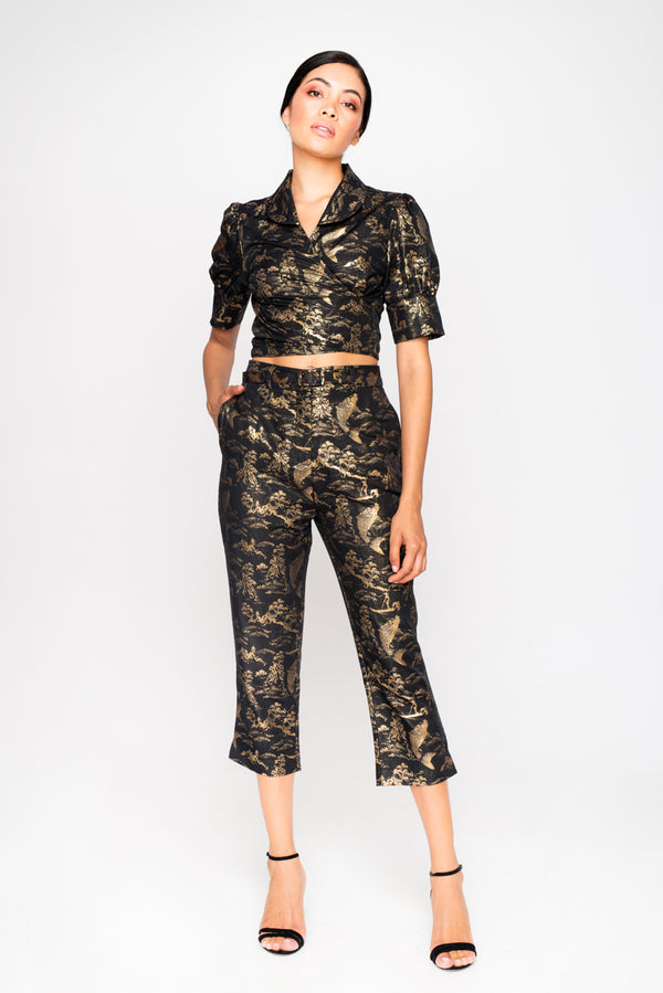 GEISHA BLACK/GOLD TROUSERS - JUSTBRAZIL